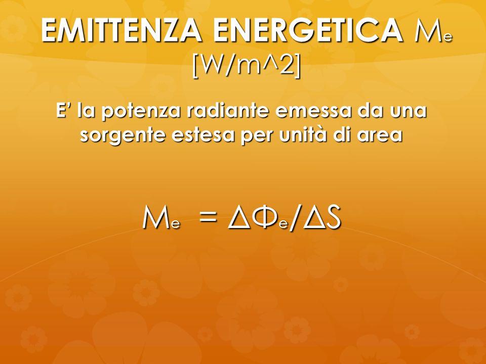 EMITTENZA ENERGETICA M e [W/m^2] M e = ΔΦ e /ΔS E la potenza radiante emessa da una sorgente estesa per unità di area
