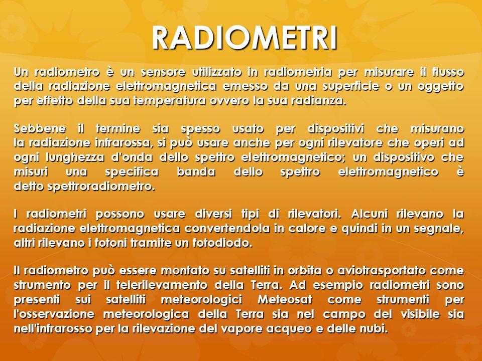 RADIOMETRI Un radiometro è un sensore utilizzato in radiometria per misurare il flusso della radiazione elettromagnetica emesso da una superficie o un