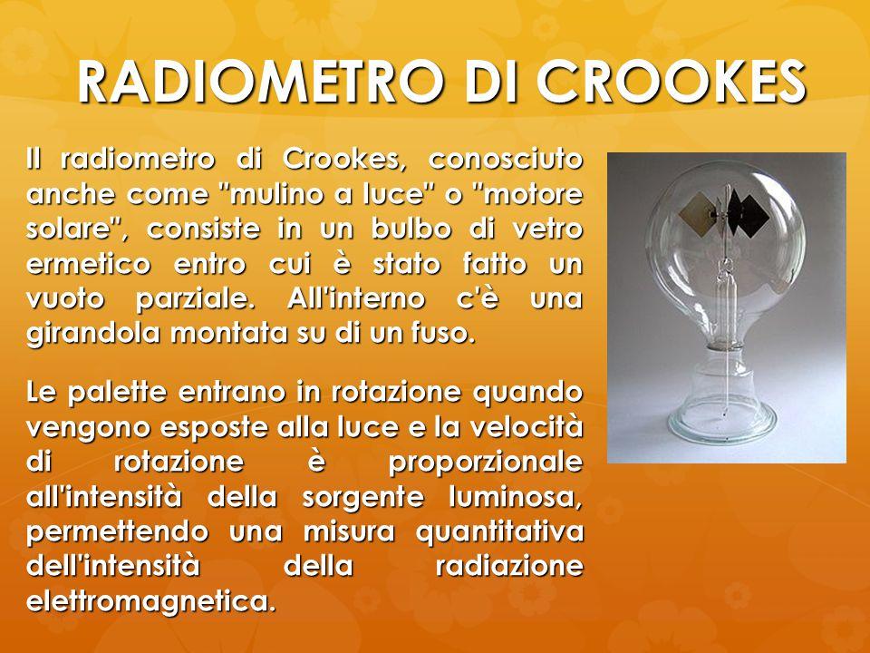 RADIOMETRO DI CROOKES Il radiometro di Crookes, conosciuto anche come