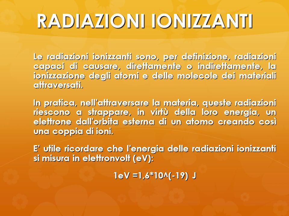 RADIAZIONI IONIZZANTI Le radiazioni ionizzanti sono, per definizione, radiazioni capaci di causare, direttamente o indirettamente, la ionizzazione deg