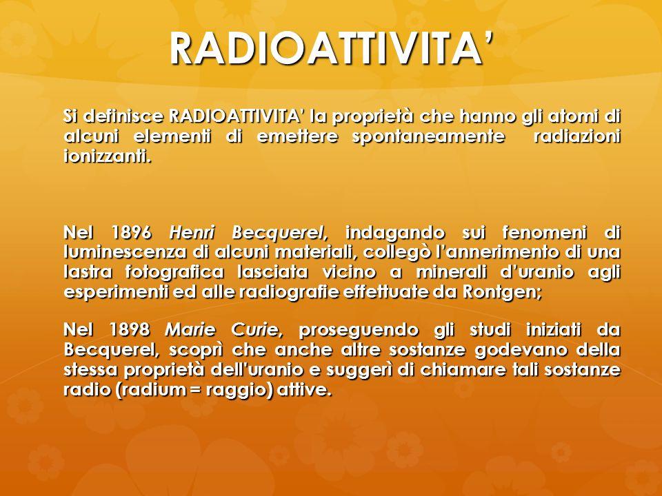RADIOATTIVITA Si definisce RADIOATTIVITA la proprietà che hanno gli atomi di alcuni elementi di emettere spontaneamente radiazioni ionizzanti. Nel 189