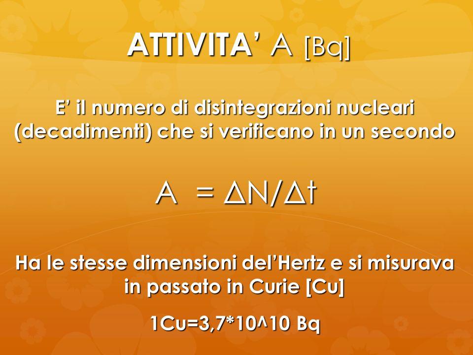 ATTIVITA A [Bq] A = ΔN/Δt E il numero di disintegrazioni nucleari (decadimenti) che si verificano in un secondo Ha le stesse dimensioni delHertz e si