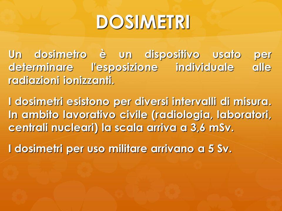 DOSIMETRI Un dosimetro è un dispositivo usato per determinare l'esposizione individuale alle radiazioni ionizzanti. I dosimetri esistono per diversi i
