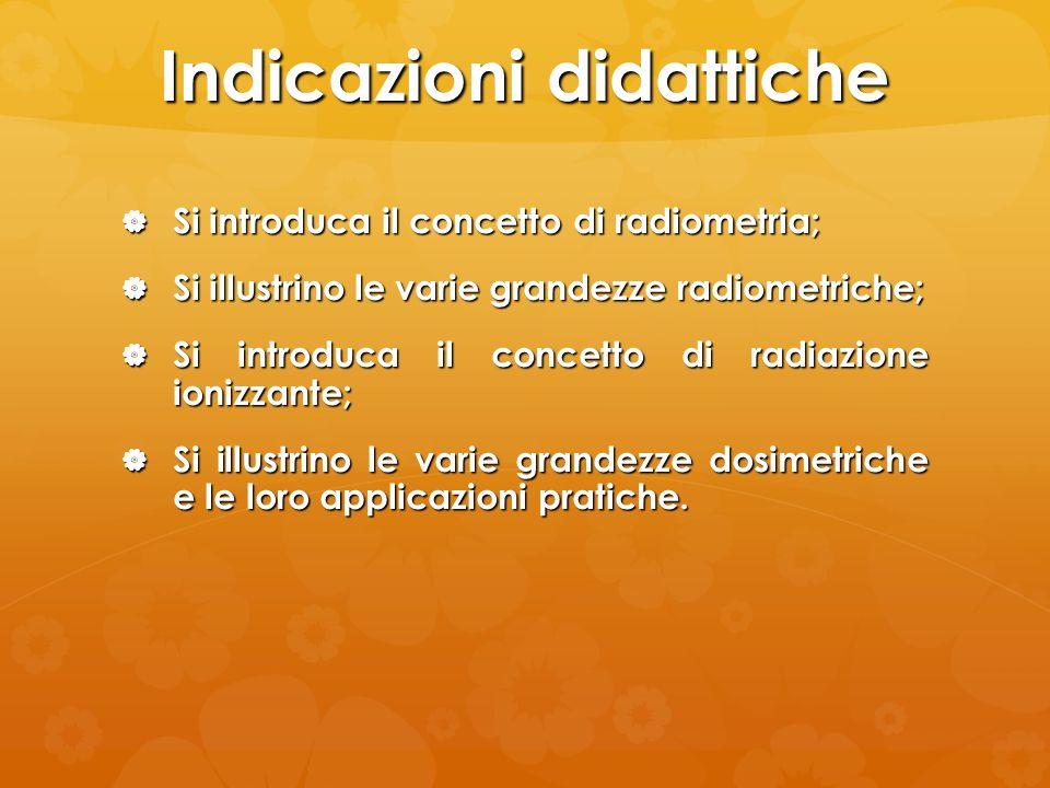 Indicazioni didattiche Si introduca il concetto di radiometria; Si introduca il concetto di radiometria; Si illustrino le varie grandezze radiometrich