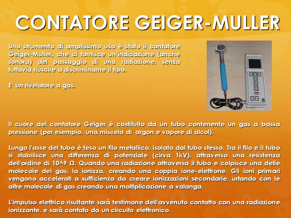 CONTATORE GEIGER-MULLER Uno strumento di amplissimo uso è stato il contatore Geiger-Muller, che ci fornisce unindicazione (anche sonora) del passaggio