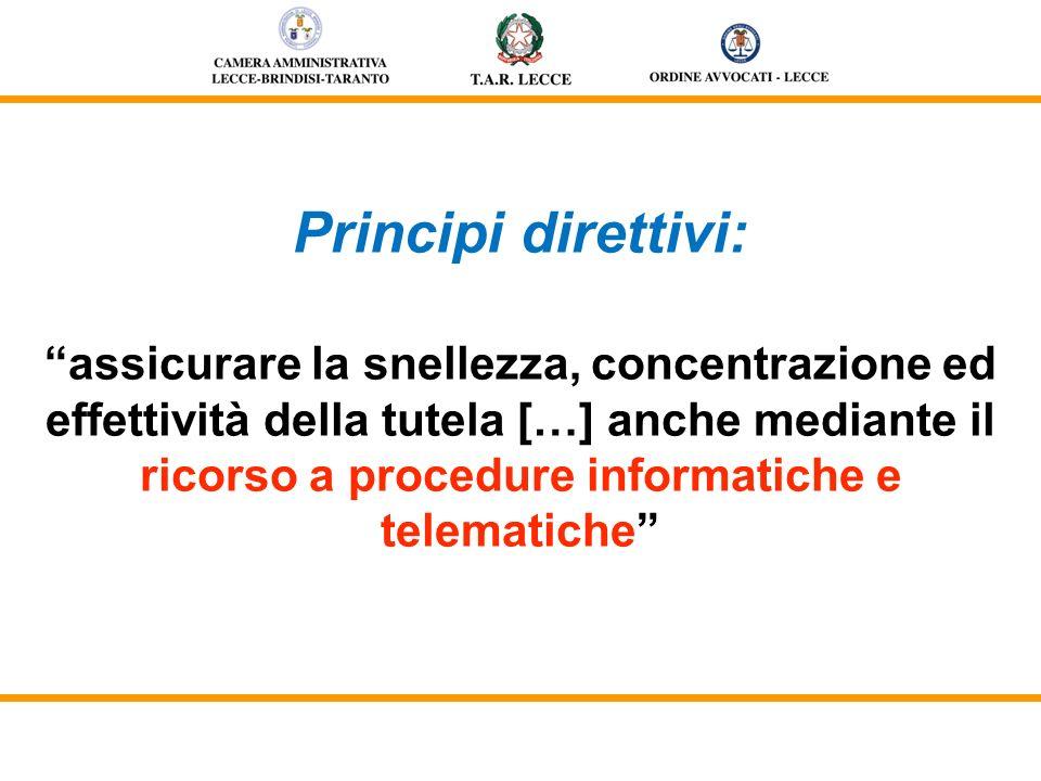 Principi direttivi: assicurare la snellezza, concentrazione ed effettività della tutela […] anche mediante il ricorso a procedure informatiche e telem
