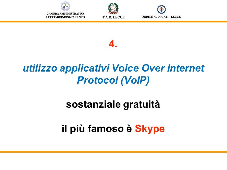 4. utilizzo applicativi Voice Over Internet Protocol (VoIP) sostanziale gratuità il più famoso è Skype