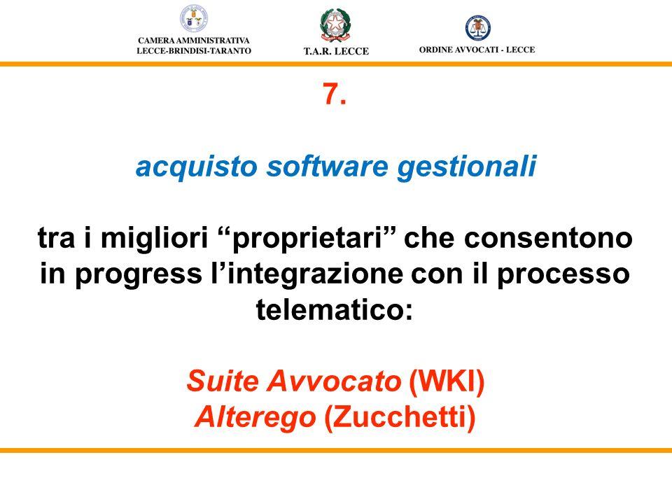7. acquisto software gestionali tra i migliori proprietari che consentono in progress lintegrazione con il processo telematico: Suite Avvocato (WKI) A