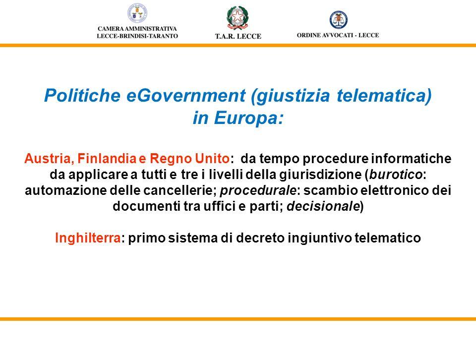 Politiche eGovernment (giustizia telematica) in Europa: Austria, Finlandia e Regno Unito: da tempo procedure informatiche da applicare a tutti e tre i