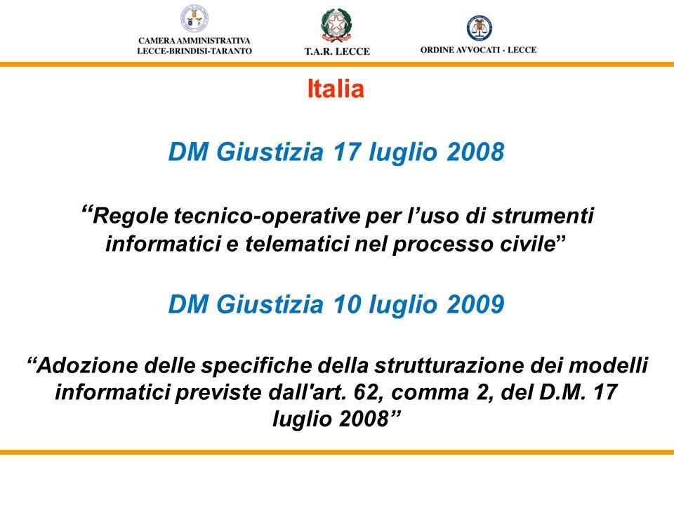 Italia DM Giustizia 17 luglio 2008 Regole tecnico-operative per luso di strumenti informatici e telematici nel processo civile DM Giustizia 10 luglio