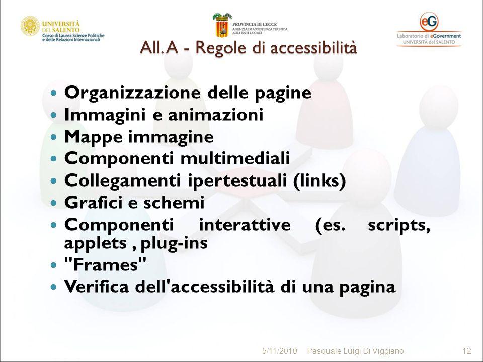 All. A - Regole di accessibilità Organizzazione delle pagine Immagini e animazioni Mappe immagine Componenti multimediali Collegamenti ipertestuali (l