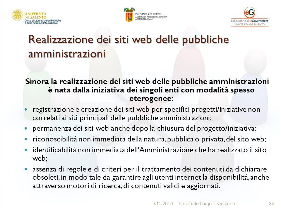 Realizzazione dei siti web delle pubbliche amministrazioni Sinora la realizzazione dei siti web delle pubbliche amministrazioni è nata dalla iniziativ