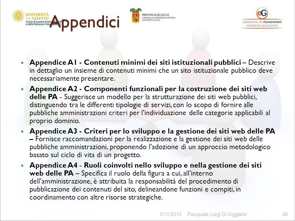 Appendici Appendice A1 - Contenuti minimi dei siti istituzionali pubblici – Descrive in dettaglio un insieme di contenuti minimi che un sito istituzionale pubblico deve necessariamente presentare.