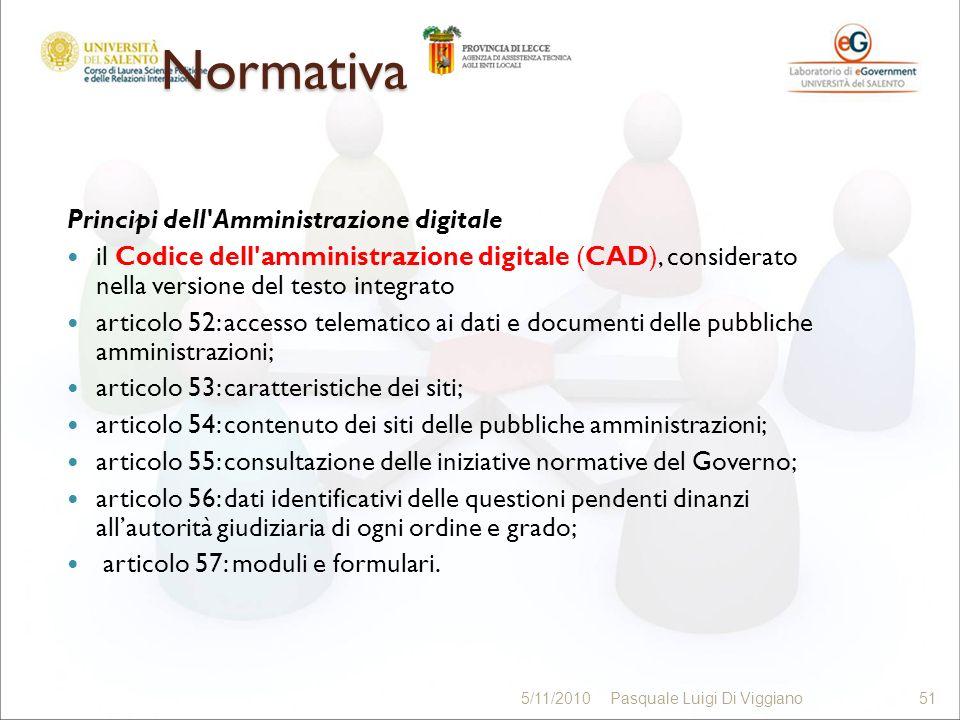 Normativa Principi dell'Amministrazione digitale il Codice dell'amministrazione digitale (CAD), considerato nella versione del testo integrato articol