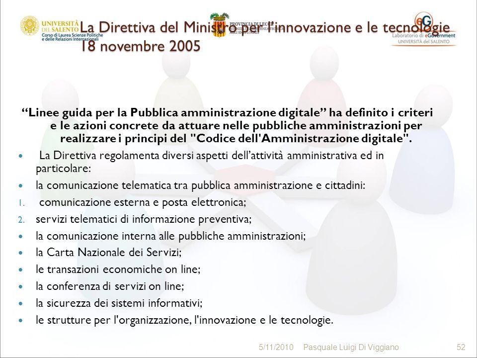 La Direttiva del Ministro per linnovazione e le tecnologie 18 novembre 2005 Linee guida per la Pubblica amministrazione digitale ha definito i criteri e le azioni concrete da attuare nelle pubbliche amministrazioni per realizzare i principi del Codice dell Amministrazione digitale .