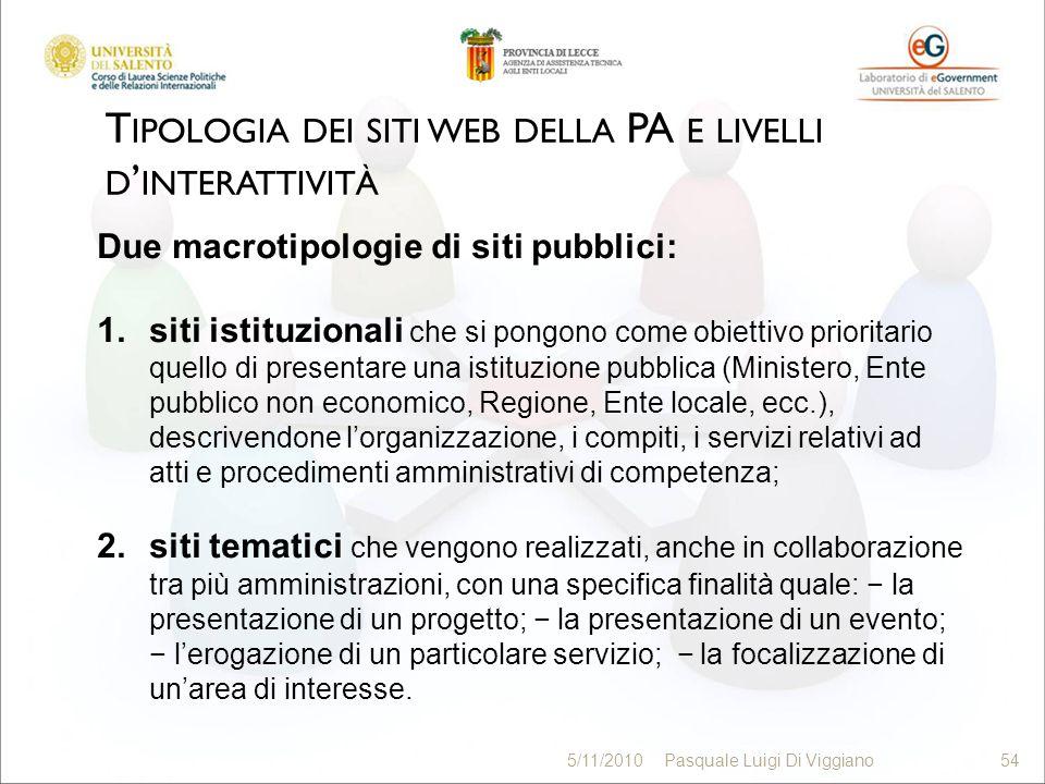 T IPOLOGIA DEI SITI WEB DELLA PA E LIVELLI D INTERATTIVITÀ 54 5/11/2010Pasquale Luigi Di Viggiano54 Due macrotipologie di siti pubblici: 1.siti istitu