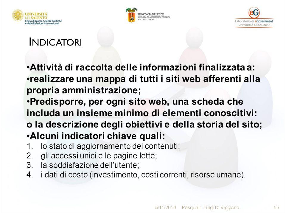 I NDICATORI 55 5/11/2010Pasquale Luigi Di Viggiano55 Attività di raccolta delle informazioni finalizzata a: realizzare una mappa di tutti i siti web a
