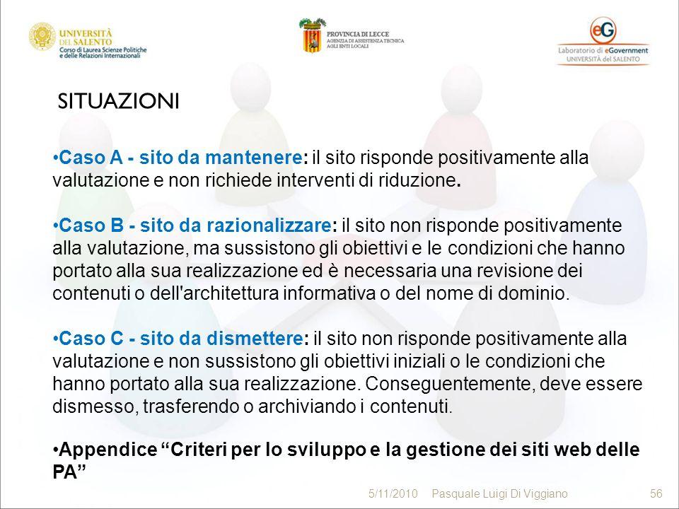 SITUAZIONI 56 5/11/2010Pasquale Luigi Di Viggiano56 Caso A - sito da mantenere: il sito risponde positivamente alla valutazione e non richiede interve