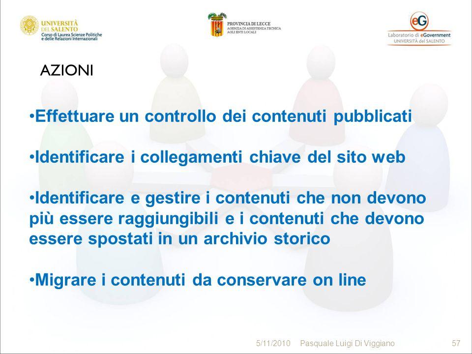 AZIONI 57 5/11/2010Pasquale Luigi Di Viggiano57 Effettuare un controllo dei contenuti pubblicati Identificare i collegamenti chiave del sito web Ident
