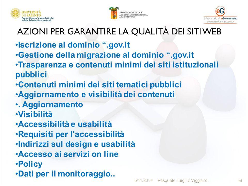 AZIONI PER GARANTIRE LA QUALITÀ DEI SITI WEB 58 5/11/2010Pasquale Luigi Di Viggiano58 Iscrizione al dominio.gov.it Gestione della migrazione al domini