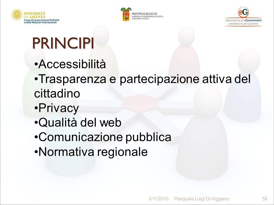 PRINCIPI 59 5/11/2010Pasquale Luigi Di Viggiano59 Accessibilità Trasparenza e partecipazione attiva del cittadino Privacy Qualità del web Comunicazion