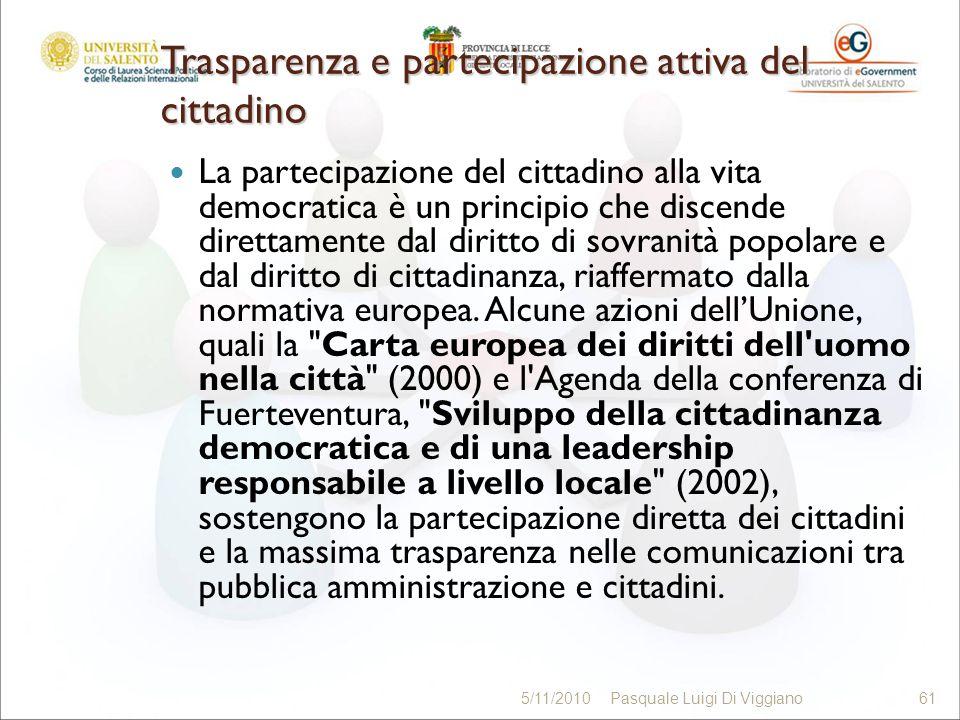Trasparenza e partecipazione attiva del cittadino La partecipazione del cittadino alla vita democratica è un principio che discende direttamente dal d