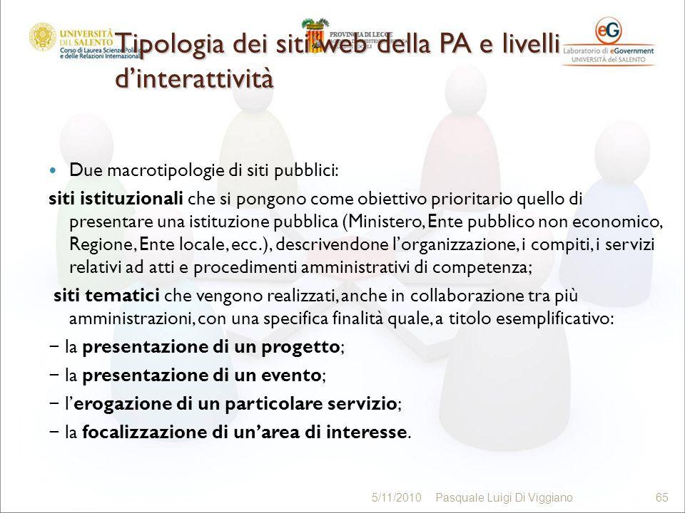 Tipologia dei siti web della PA e livelli dinterattività Due macrotipologie di siti pubblici: siti istituzionali che si pongono come obiettivo priorit