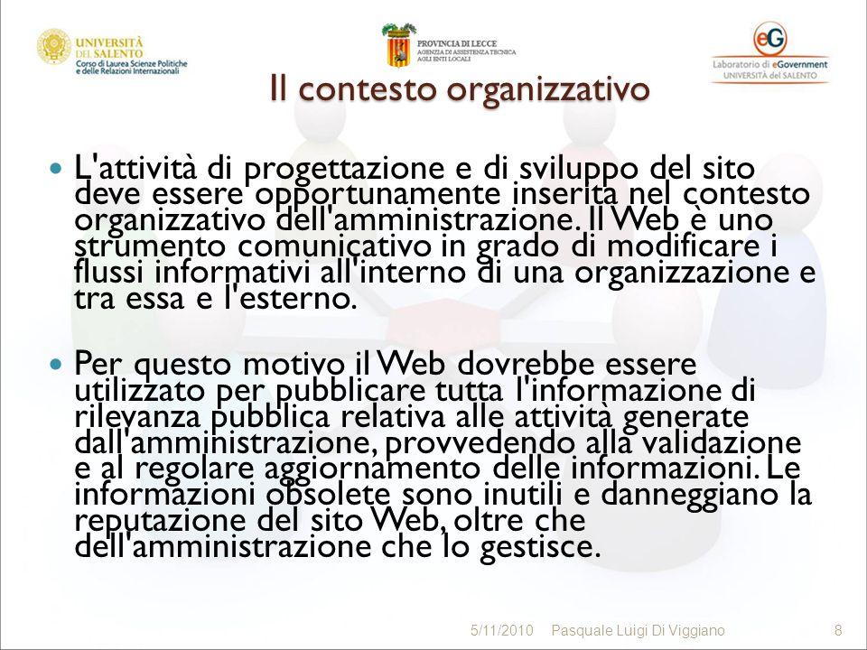 PRINCIPI 59 5/11/2010Pasquale Luigi Di Viggiano59 Accessibilità Trasparenza e partecipazione attiva del cittadino Privacy Qualità del web Comunicazione pubblica Normativa regionale