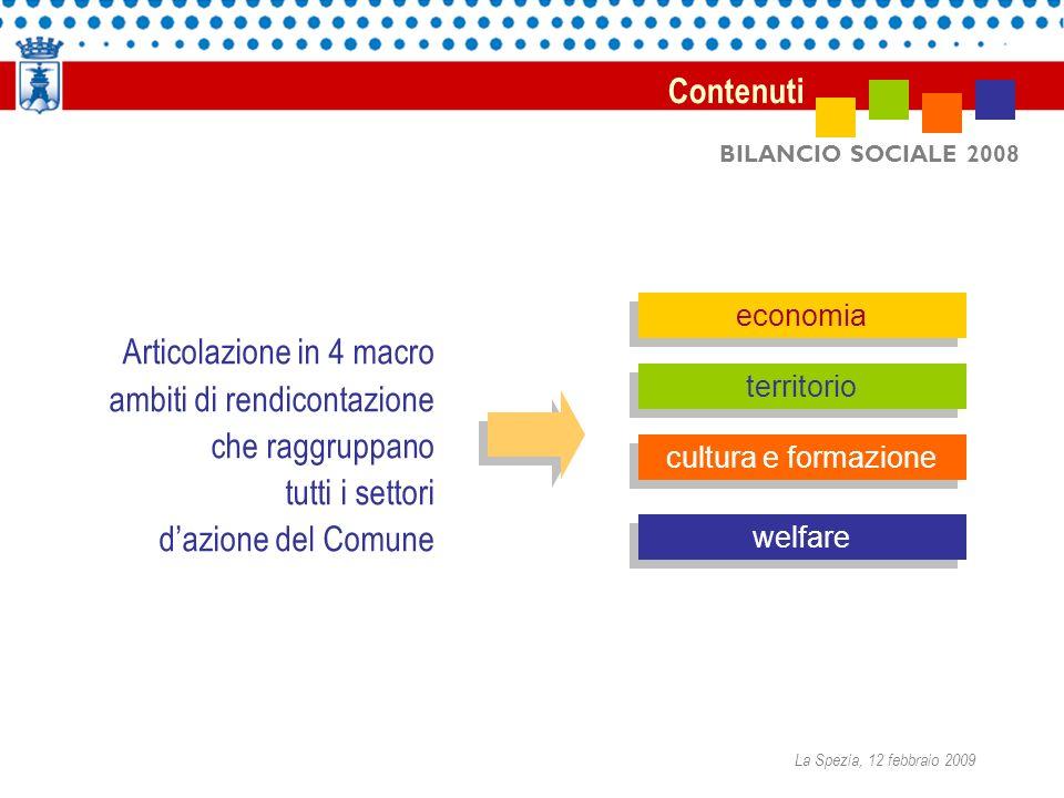 BILANCIO SOCIALE 2008 Articolazione in 4 macro ambiti di rendicontazione che raggruppano tutti i settori dazione del Comune Contenuti economia territorio cultura e formazione welfare La Spezia, 12 febbraio 2009