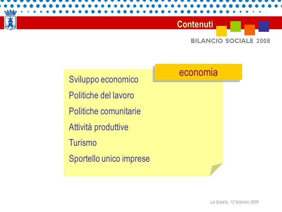 BILANCIO SOCIALE 2008 Sviluppo economico Politiche del lavoro Politiche comunitarie Attività produttive Turismo Sportello unico imprese economia Conte