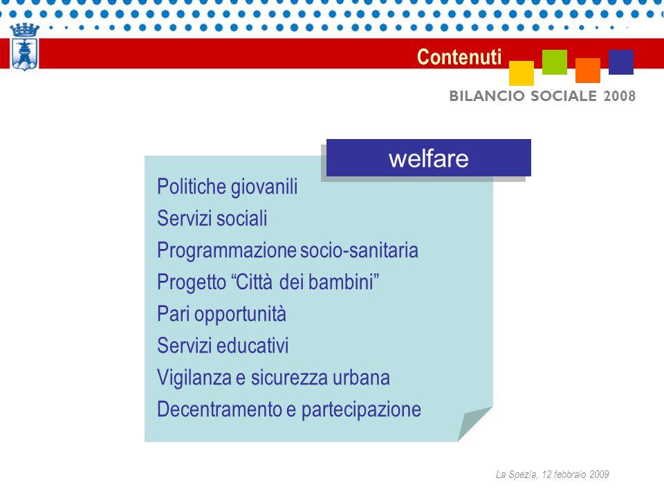 BILANCIO SOCIALE 2008 Contenuti Politiche giovanili Servizi sociali Programmazione socio-sanitaria Progetto Città dei bambini Pari opportunità Servizi