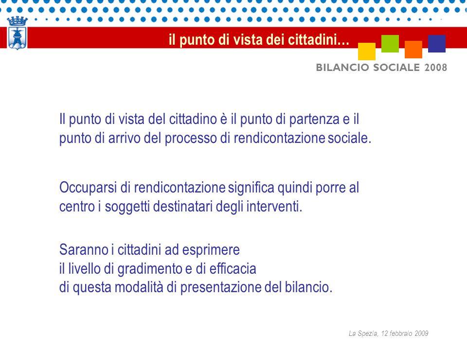 BILANCIO SOCIALE 2008 Il punto di vista del cittadino è il punto di partenza e il punto di arrivo del processo di rendicontazione sociale. il punto di