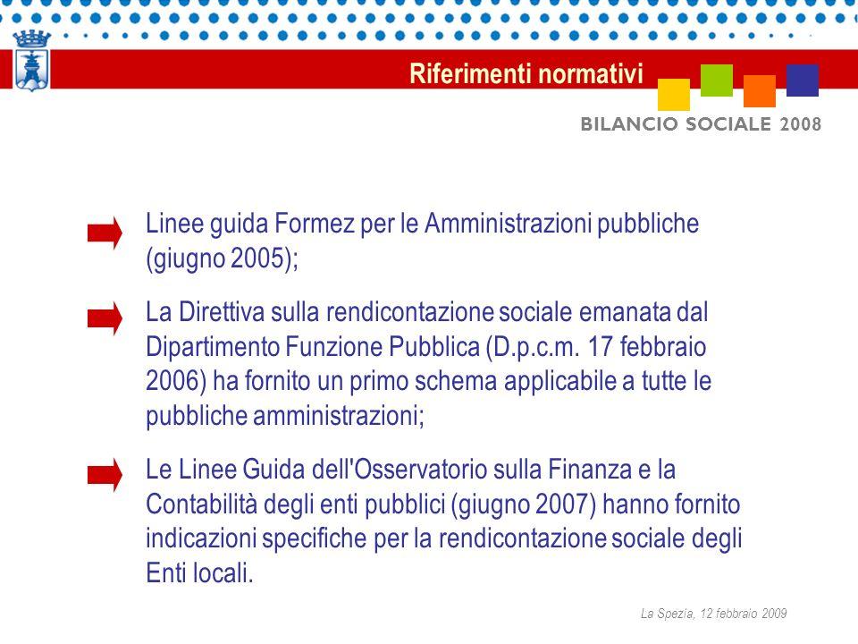 BILANCIO SOCIALE 2008 Linee guida Formez per le Amministrazioni pubbliche (giugno 2005); La Direttiva sulla rendicontazione sociale emanata dal Dipartimento Funzione Pubblica (D.p.c.m.
