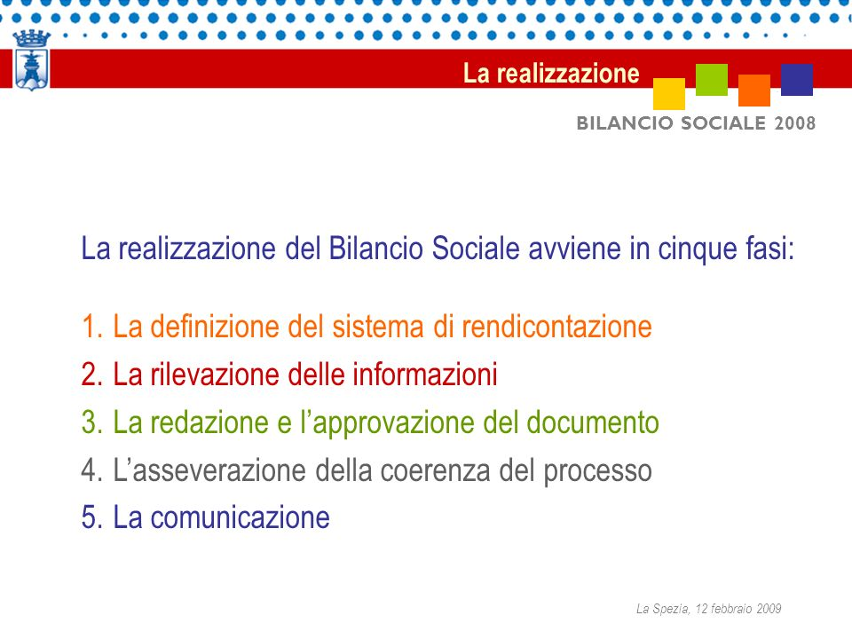 BILANCIO SOCIALE 2008 La realizzazione del Bilancio Sociale avviene in cinque fasi: 1.La definizione del sistema di rendicontazione 2.La rilevazione d