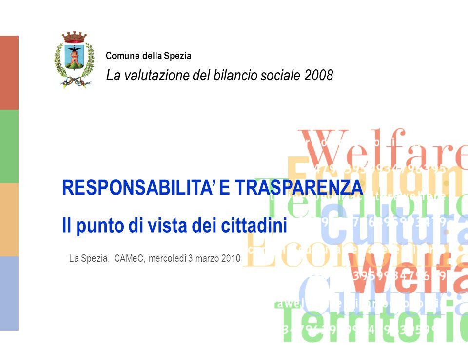 Comune della Spezia La valutazione del bilancio sociale 2008 La Spezia, CAMeC, mercoledì 3 marzo 2010 RESPONSABILITA E TRASPARENZA Il punto di vista dei cittadini
