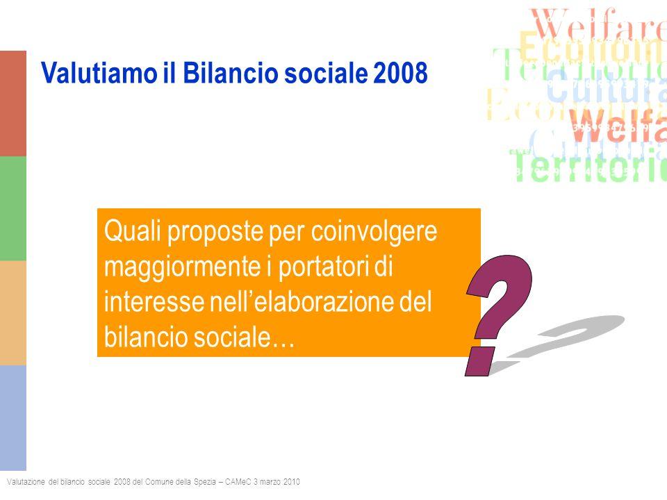 Valutiamo il Bilancio sociale 2008 Valutazione del bilancio sociale 2008 del Comune della Spezia – CAMeC 3 marzo 2010 Quali proposte per coinvolgere maggiormente i portatori di interesse nellelaborazione del bilancio sociale…