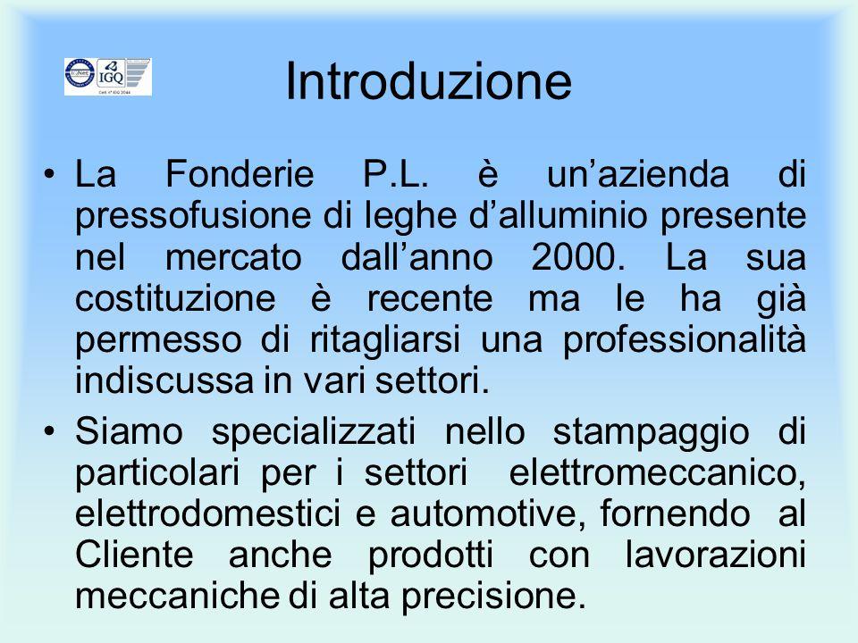 Introduzione La Fonderie P.L. è unazienda di pressofusione di leghe dalluminio presente nel mercato dallanno 2000. La sua costituzione è recente ma le