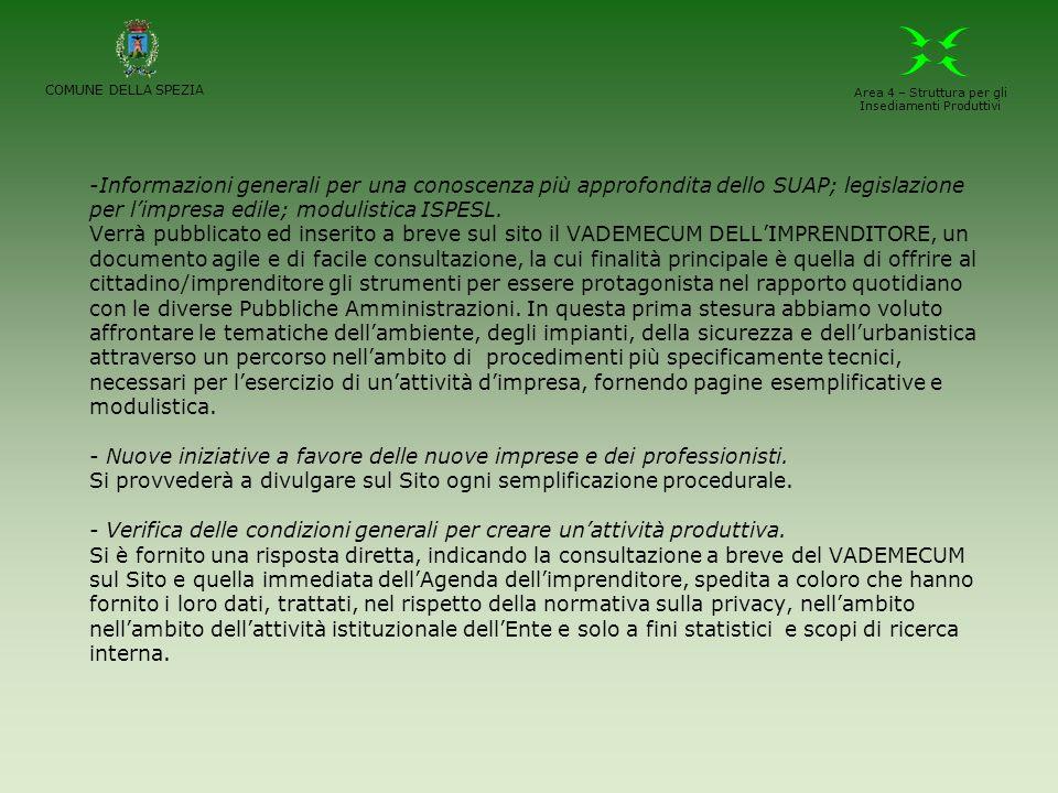 -Informazioni generali per una conoscenza più approfondita dello SUAP; legislazione per limpresa edile; modulistica ISPESL. Verrà pubblicato ed inseri
