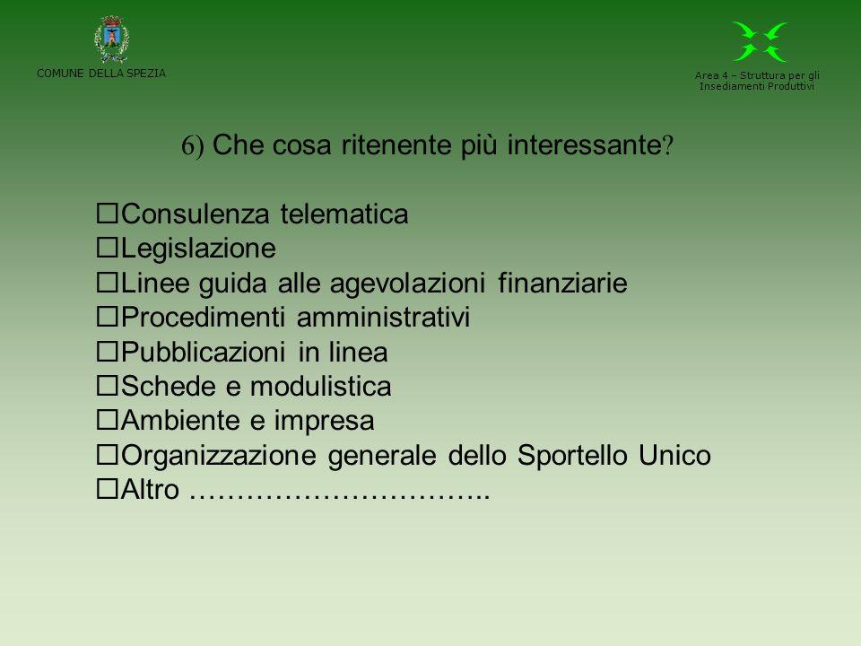 COMUNE DELLA SPEZIA Area 4 – Struttura per gli Insediamenti Produttivi 6) Che cosa ritenente più interessante .
