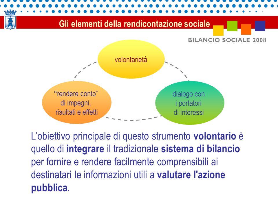 BILANCIO SOCIALE 2008 Lobiettivo principale di questo strumento volontario è quello di integrare il tradizionale sistema di bilancio per fornire e rendere facilmente comprensibili ai destinatari le informazioni utili a valutare l azione pubblica.