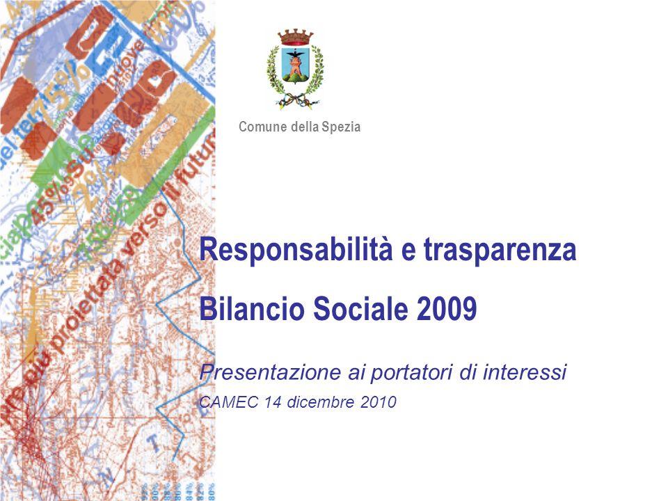 Responsabilità e trasparenza Bilancio Sociale 2009 Presentazione ai portatori di interessi CAMEC 14 dicembre 2010 Comune della Spezia