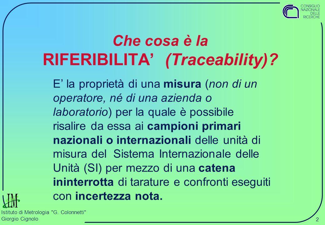 2 Istituto di Metrologia G.Colonnetti Giorgio Cignolo Che cosa è la RIFERIBILITA (Traceability).
