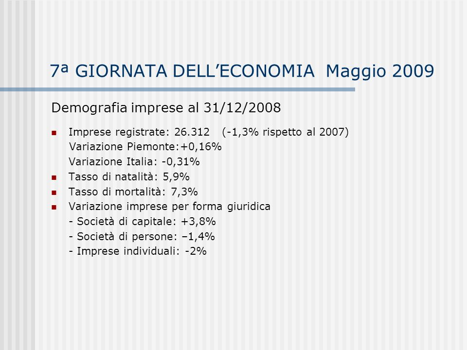 7ª GIORNATA DELLECONOMIA Maggio 2009 Demografia imprese al 31/12/2008 Consistenza e variazione imprese registrate per settore di attività rispetto al 2007 - Agricoltura: 8.531 -2,8% - Industria estrattiva: 11 staz.