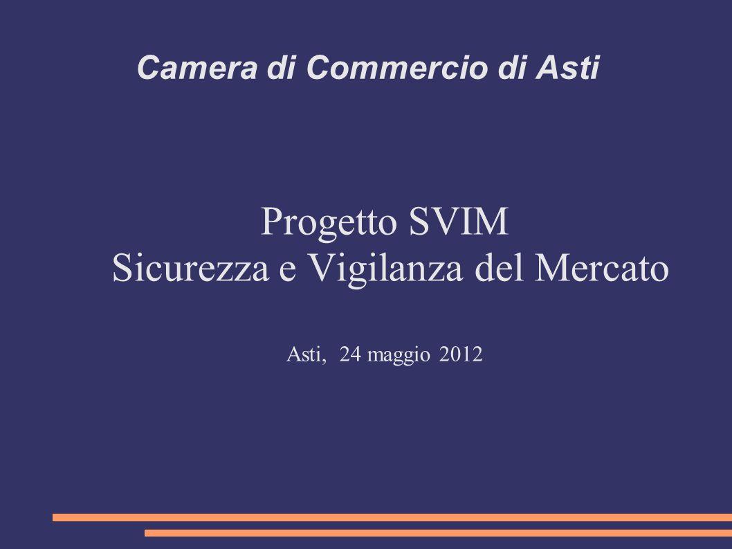 Camera di Commercio di Asti Progetto SVIM Sicurezza e Vigilanza del Mercato Asti, 24 maggio 2012