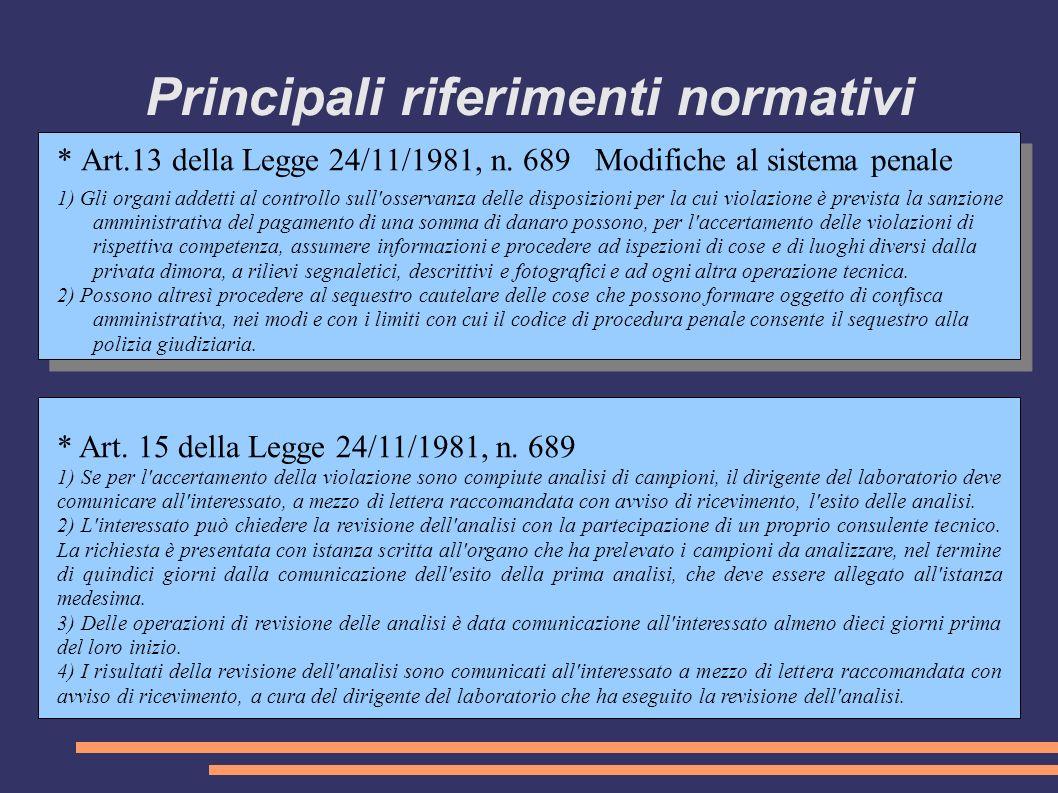 Principali riferimenti normativi * Art.13 della Legge 24/11/1981, n.
