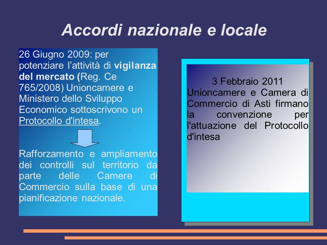 Accordi nazionale e locale 26 Giugno 2009: per potenziare lattività di vigilanza del mercato (Reg.