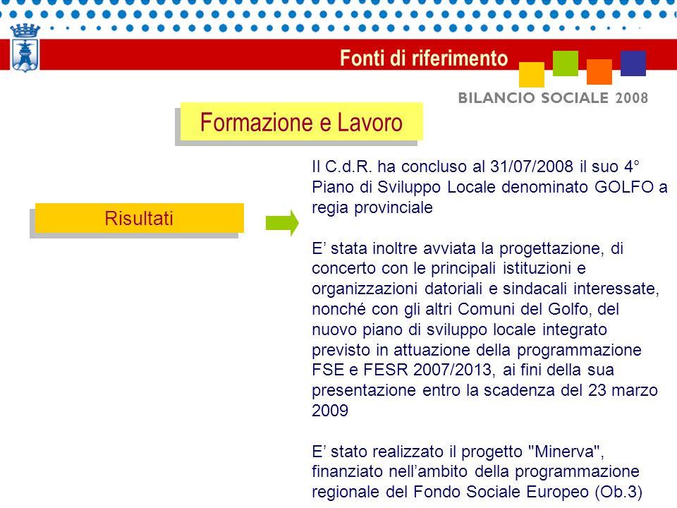 BILANCIO SOCIALE 2008 Fonti di riferimento Risultati Il C.d.R.