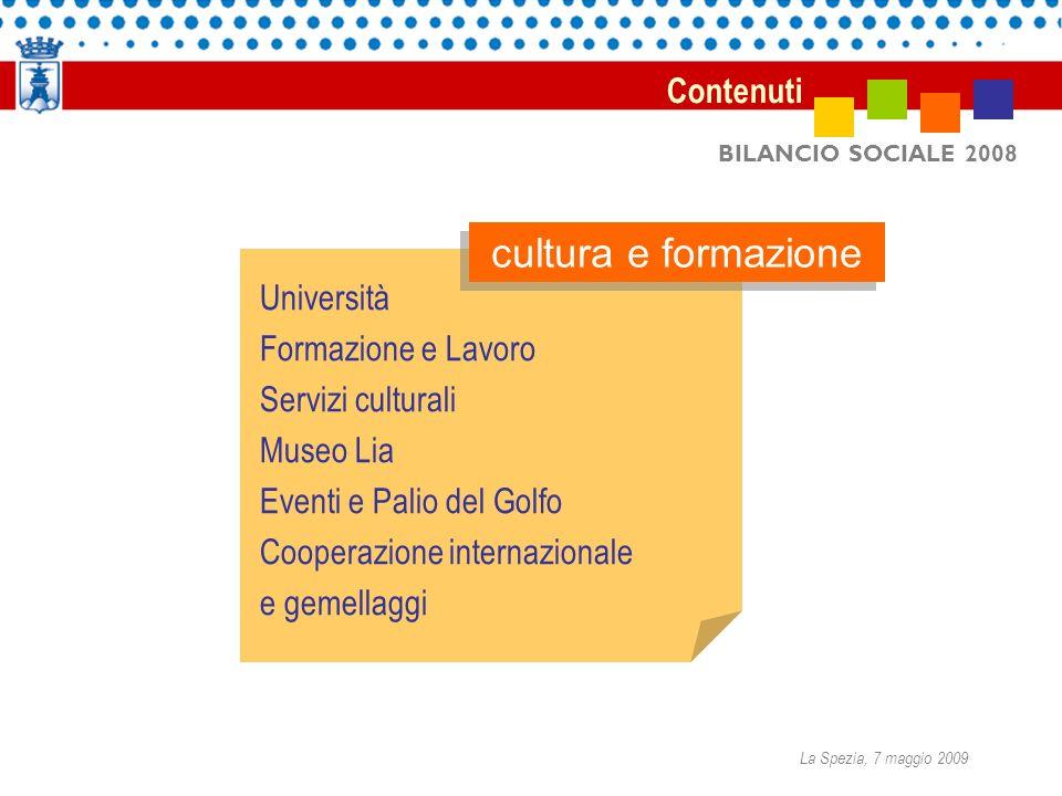 BILANCIO SOCIALE 2008 Università Formazione e Lavoro Servizi culturali Museo Lia Eventi e Palio del Golfo Cooperazione internazionale e gemellaggi cultura e formazione Contenuti La Spezia, 7 maggio 2009