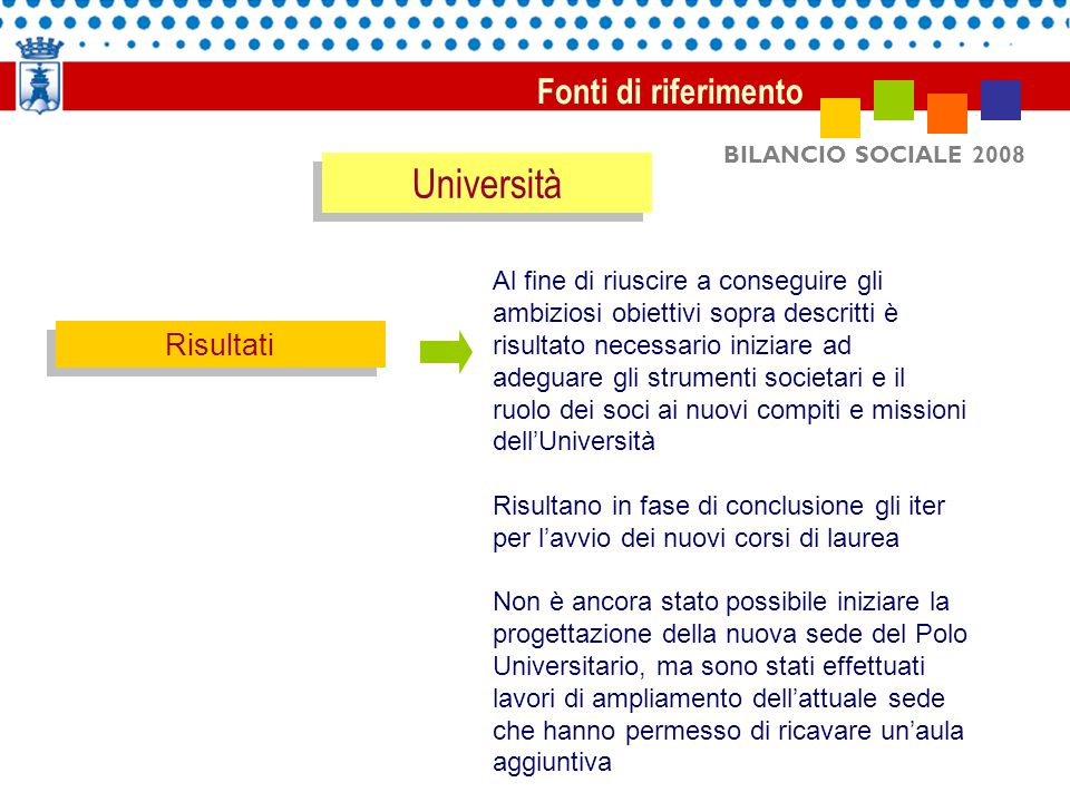 BILANCIO SOCIALE 2008 Fonti di riferimento Università Andamento iscrizioni Polo Universitario dallanno accademico 2005/2006 allanno accademico 2008/2009