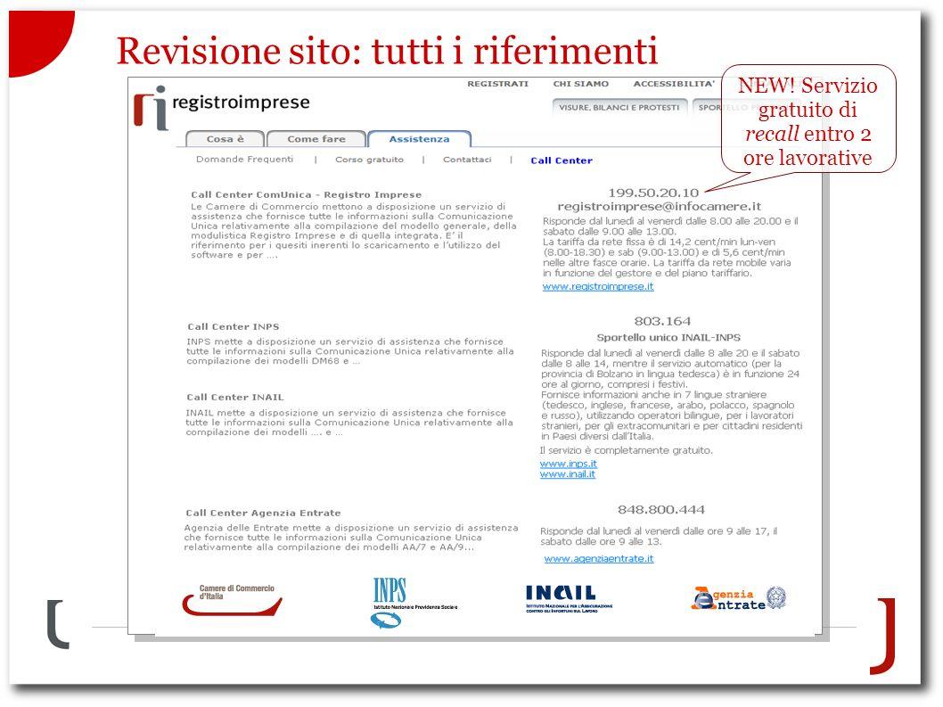 Revisione sito: tutti i riferimenti NEW! Servizio gratuito di recall entro 2 ore lavorative